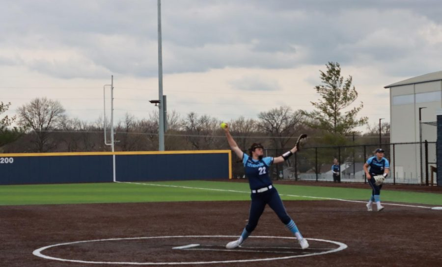 Let it go: Junior pitcher Raegen Hamm throws one of the 76 pitches it took to complete seven scoreless innings against the University of Nebraska at Kearney.