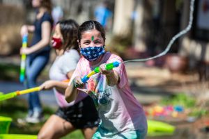 Look out!: Washburn student Sangya Yogi joining in the Holi Festival. Sangya is from Nepal and this was her first Holi Festival in the US.