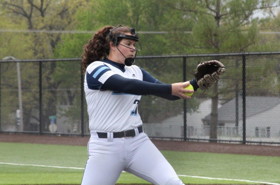 Fast pitch: Junior pitcher Raegen Hamm delivers a pitch in the first game of Washburn