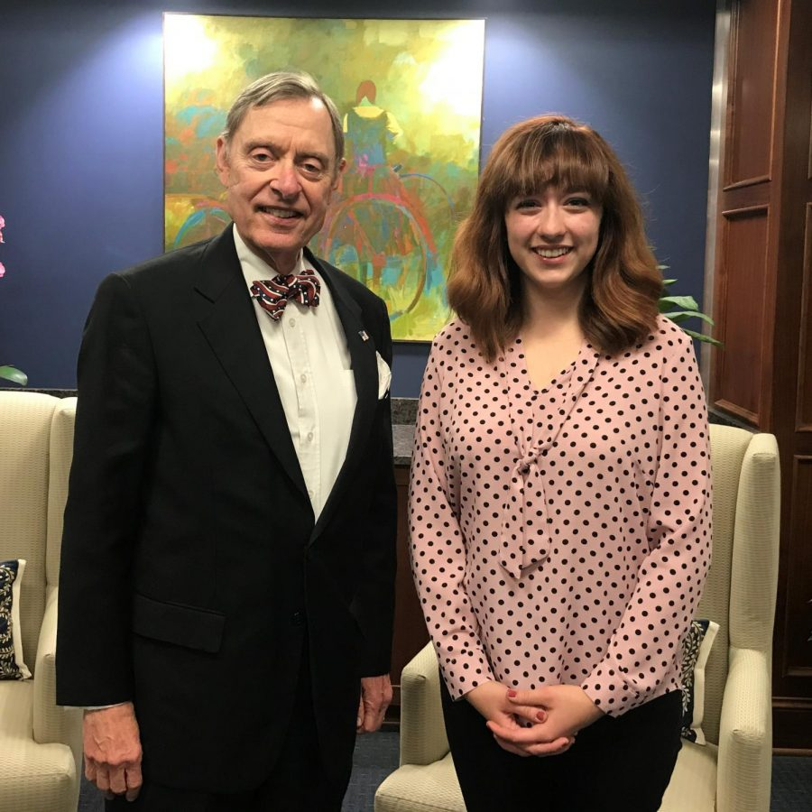 Student and President: President Jerry Farley (left) and Blythe Landon (right) pose for a photo in their office. Farley regularly takes time to show his appreciation for his student employees.