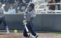 Swing Away: Brianna Fuchs sends a ball into center field for a single in game one of Washburn's doubleheader against Lincoln University.