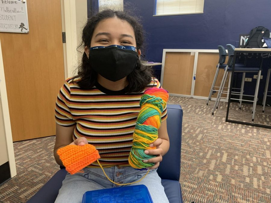 The Big Picture: First year student Pat Moore attended the stitch and bitch to make progress on a project she is working on.