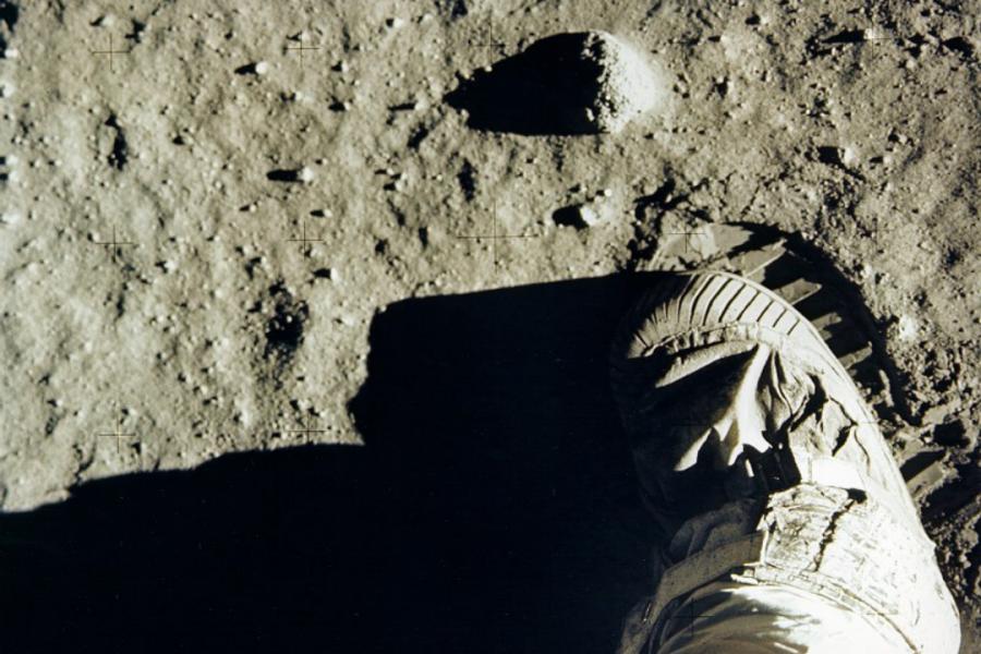 On lunar soil: Buzz Aldrin