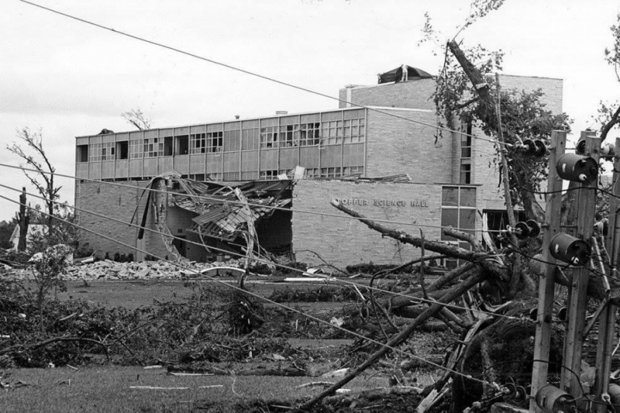 Stoffer suffers: The science building was able to be repaired after the tornado.