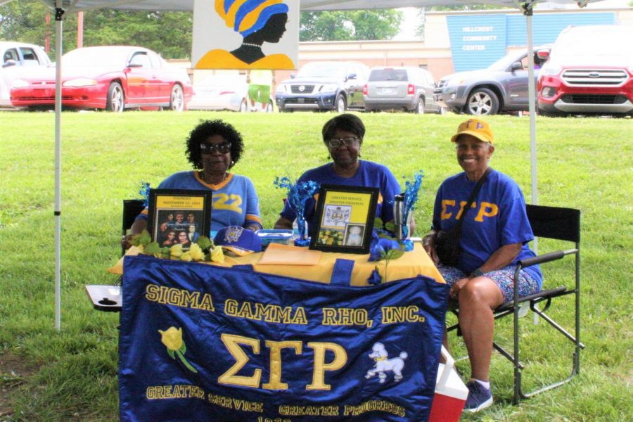 Need a drink?: (From left to right) Darlene Palmer, Marie Carter and Rosalyn Carr showed up for Juneteenth representing Sigma Gamma Rho. They brought plenty of cold water for anyone who needed a drink.