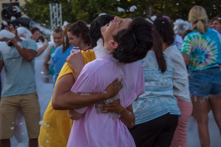 Bring it in: Washburn hosted its very first Foam Party in the East Union Lawn last night.