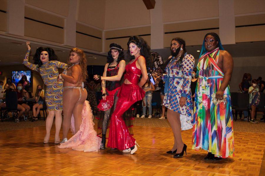 Strike a pose: The six iconic drag queens pose for photos following the show.