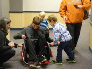 Helping others: Treven has volunteered at the Capper Foundation for many years, befriending and assisting children with physical disabilities along the way.