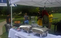 Serve it up: Food and cold water were served to those who attended the event.