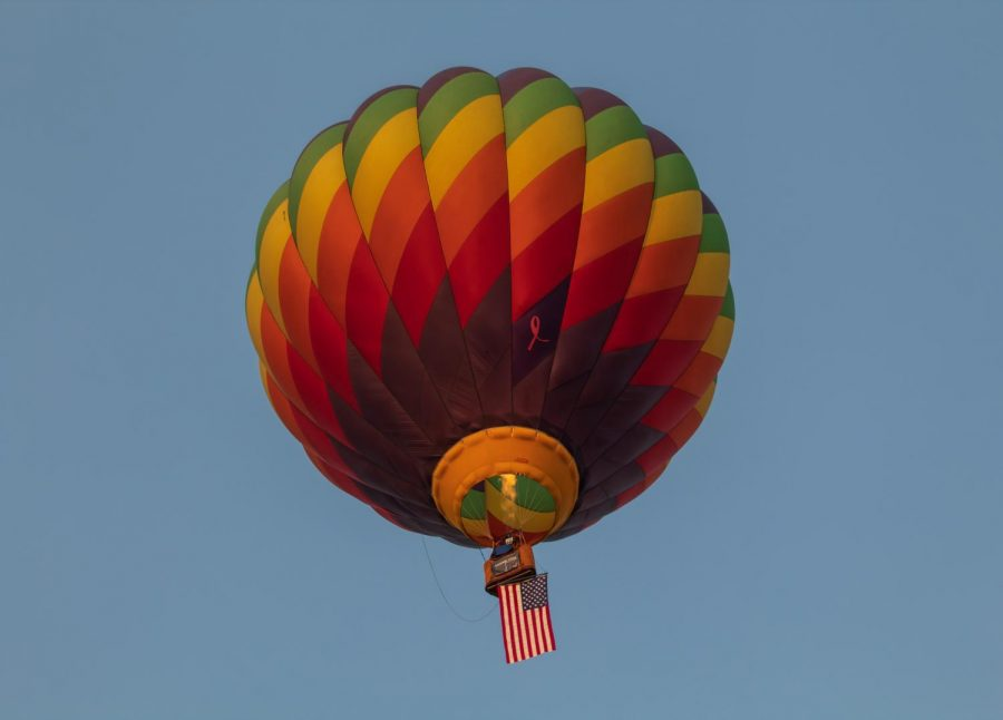 Look+out+below%3A+An+American+flag+was+flown+below+the+breast+cancer+awareness+hot+air+balloon+basket.