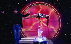 Suspended: Greg Gleason (left) hosting an episode of Master of Illusion on the CW in 2017. Performing an elaborate and eye-catching flying illusion.