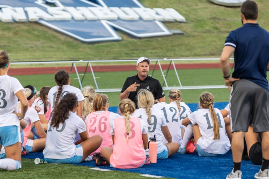 Coachable moment: Washburn women's head coach giving some advice on how to beat the William Jewell Cardinals. This is the spark that kicks off the opening session.