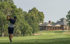 Fairway focused: Cameron Riley hits off the tee Monday, Sept. 13, 2021 at Topeka Country Club in Topeka, KS.