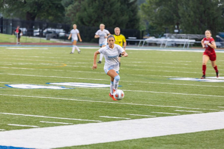 Driving it home: Washburns Tera Lynch driving the ball down the field in this weeks game against Jewell College. Lynch scored a goal in the second half allowing Washburn to take home the win.