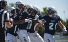 Hype him up: Teammates celebrate with Washburn University wide receiver Peter Afful (2) after scoring a touchdown Saturday, Sept. 25, 2021, in Topeka, Kan. The Ichabods won 47-41 over Missouri Western State University.