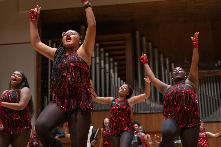 Say it like you mean it: The Gateway Highsteppers Drill Team performed at White Concert Hall on Sept. 16, 2021.