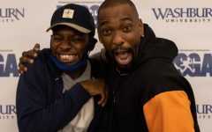 Goofy: AJ Foster (left) and Jay Pharoah (right) act goofy while getting their picture taken. Foster has opened for many of the countrys top comedians, including Pharoah on many occasions.