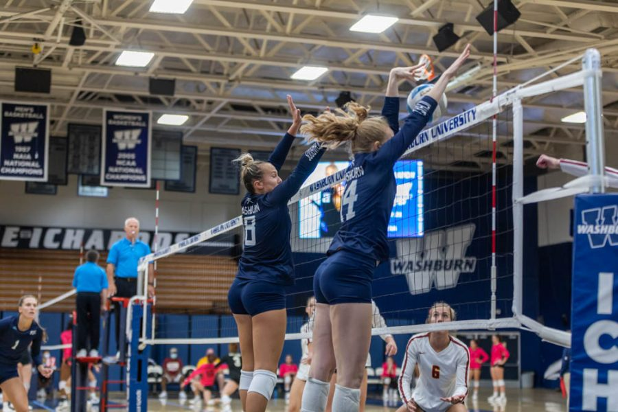 Brick+Wall%3A+Washburn%E2%80%99s+Kelsey+Gordon+and+Alison+Maxwell+blocking+Northern+State+in+their+spike+attempt.+Between+Gordon+and+Maxwell%2C+they+had+a+total+of+seven+blocks+during+Saturday%E2%80%99s+game.