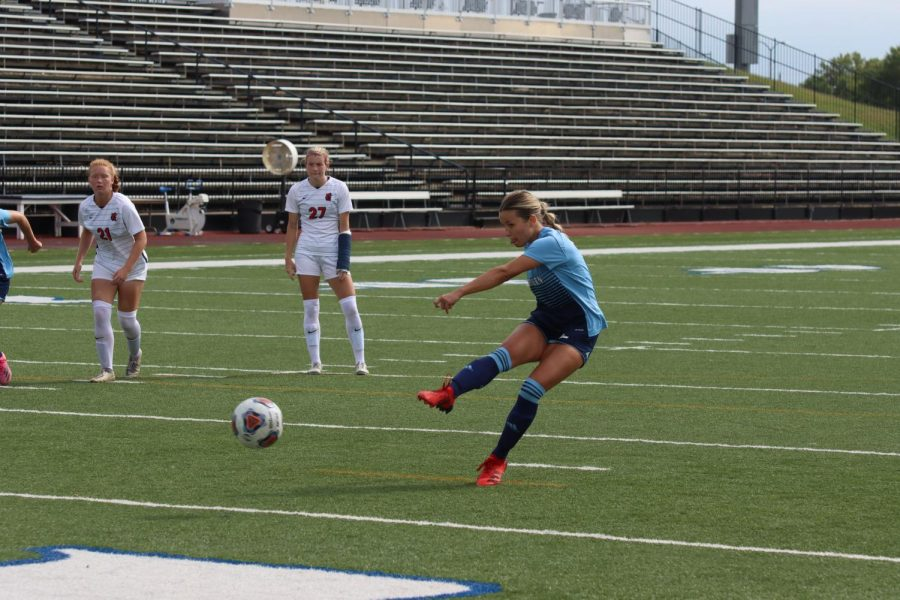 Point blank: Washburn midfielder Tera Lynch (2) kicks a penalty kick on Oct. 10, 2021. Lynch finished with one goal on six shots in the match.
