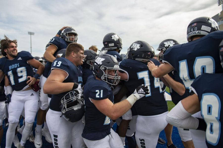 Jump around: Washburn celebrates after the game winning touchdown Saturday, Oct. 9, 2021, at Yager Stadium in Topeka, Kan. Washburn defeated Fort Hays State 23-20 in overtime.