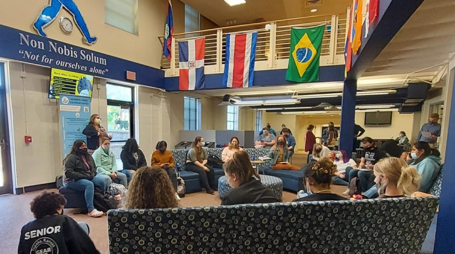 An Impressive Turn-out: The audience patiently waits for the event to begin in the Underground of the Memorial Union. Event host, Dennis Etzel later expressed how happy he was about the large number of people who showed up to participate and observe.