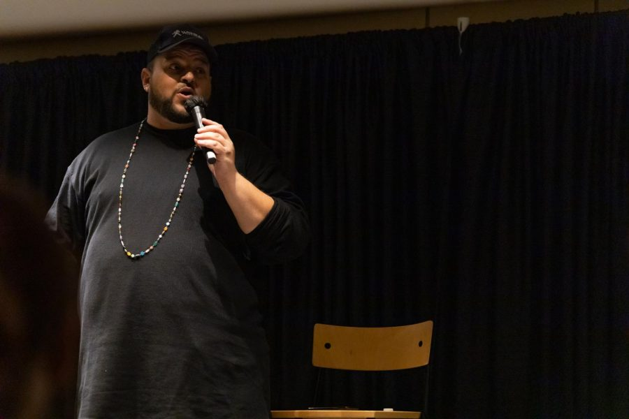 Stand up king: Daniel Franzese performs for an audience of Washburn students, faculty, staff and community members. Franzese performed on Oct. 19, 2021 at Washburn University.