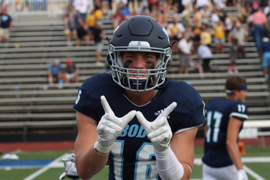 Smile: The Washburn Safety Caeden Spencer celebrates with a simile for the camera. The Ichabods defeated the Tigers 23-20 in overtime on Oct. 9, 2021.